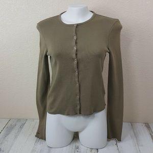 Ralph Lauren Women Top Sweat Jacket Vintage Khaki